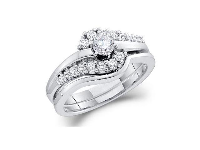 Diamond Engagement Rings Set Wedding Band 14k White Gold (0.50 CT)