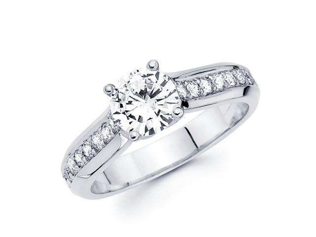 Semi Mount Round Diamond Engagement Ring 14k White Gold Setting 1/3ct