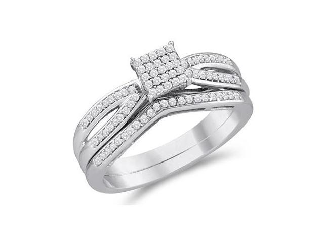 Diamond Engagement Ring & Wedding Band White Gold Bridal (1/4 Carat)