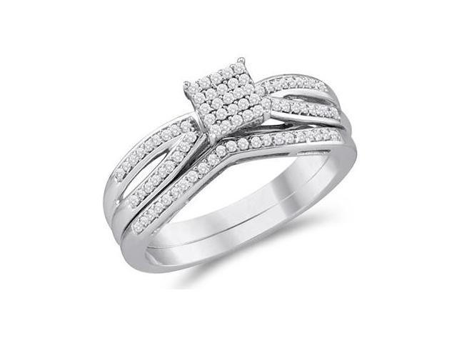Diamond Engagement Ring & Wedding Band White Gold Bridal (1/4 Carat)
