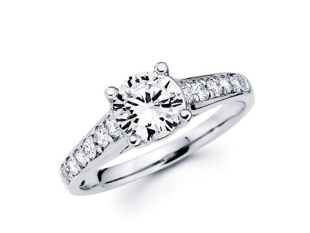 Semi Mount Round Diamond Engagement Ring 14k White Gold Setting 1/3 CT