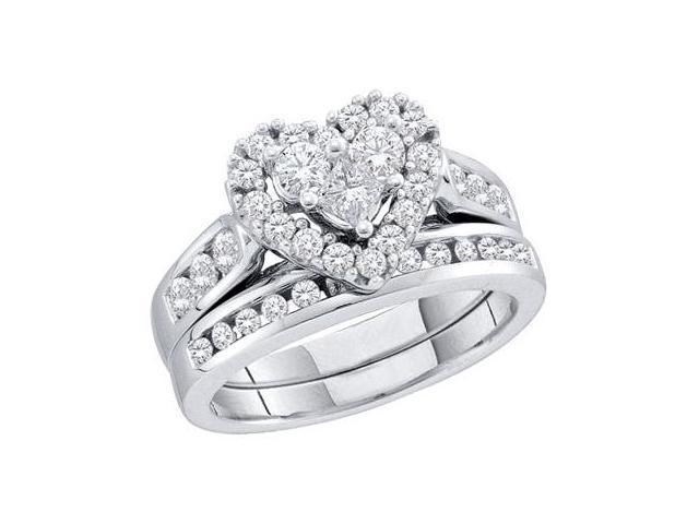 Heart Diamond Engagement Ring Set 14k White Gold Bridal (1.00 Carat)
