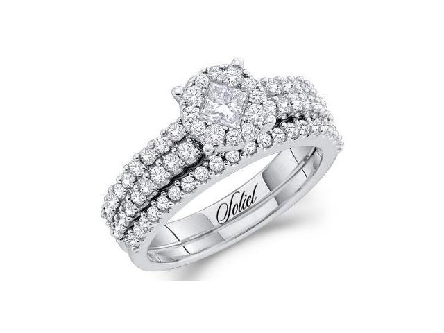 Diamond Engagement Ring and Wedding Band Bridal Set 14k White Gold 1ct