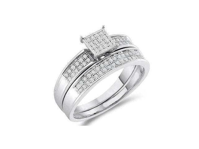 Diamond Engagement Ring & Wedding Band White Gold Bridal Set (1/5 ctw)