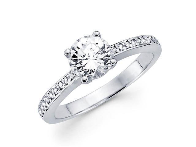 Semi Mount Round Diamond Engagement Ring 14k White Gold Setting .10 ct