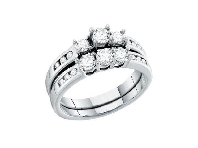 Three Stone Diamond Engagement Rings Wedding Set 14k White Gold (1 CT)