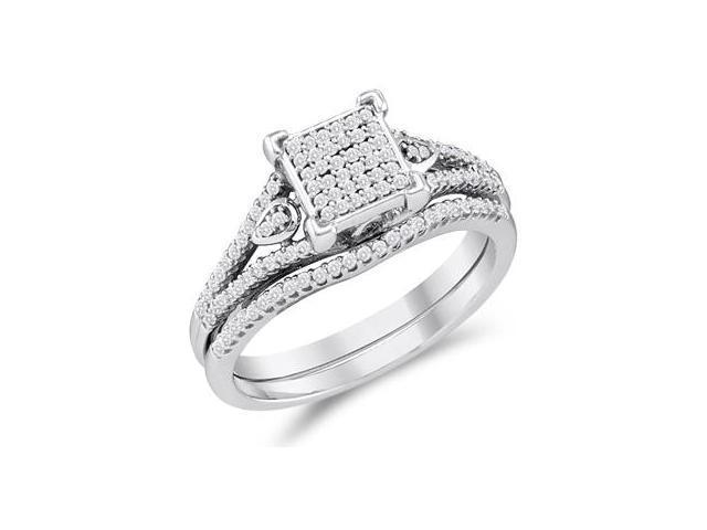 Diamond Engagement Ring & Wedding Band White Gold Bridal (1/3 Carat)