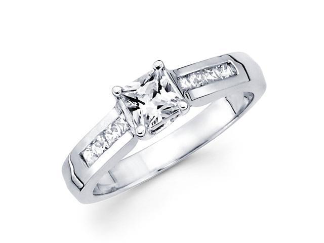 Semi Mount Princess Diamond Engagement Ring 14k White (1/3 CTW)