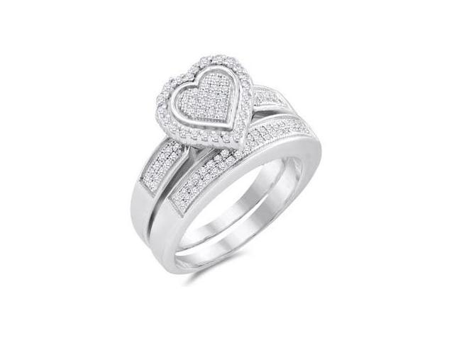Diamond Engagement Heart Ring & Wedding Band White Gold (1/3 Carat)