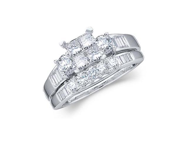 Diamond Engagement Ring Wedding Band Princess Bridal Set White Gold