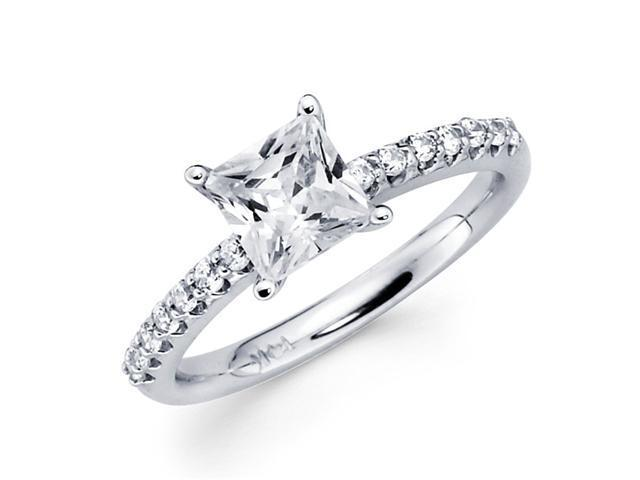 Princess Solitaire Diamond Engagement Ring 14k White Gold Semi Mount