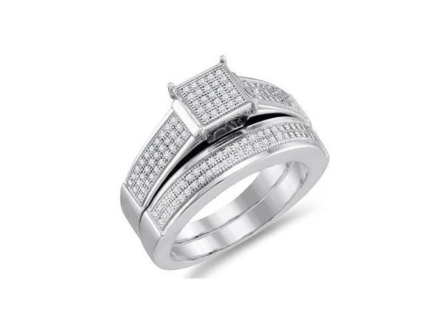 Diamond Engagement Ring & Wedding Band White Gold Bridal (0.40 Carat)
