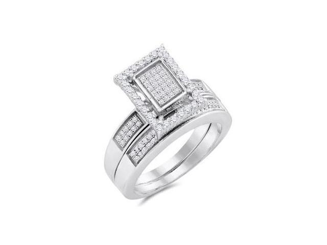Diamond Engagement Ring & Wedding Band White Gold Bridal (1/2 Carat)