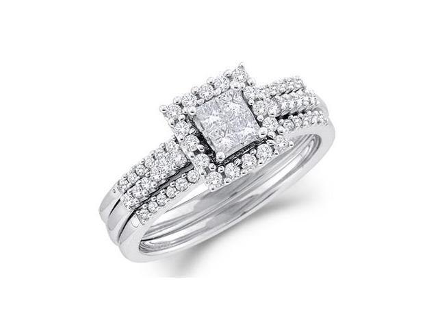 Ladies Diamond Engagement Rings Set Wedding 14k White Gold (1/2 CTW)