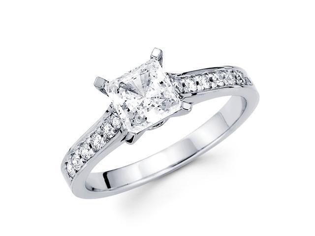 Semi Mount Princess Diamond Engagement Ring 14k White Gold (1/5 CTW)