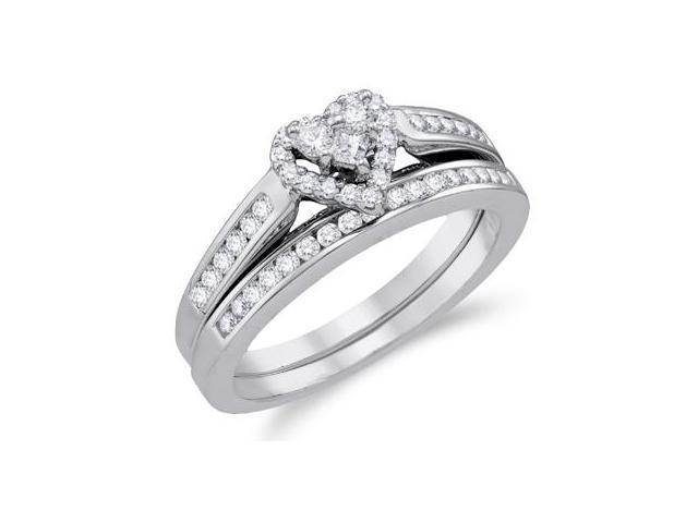 Heart Diamond Engagement Ring & Wedding Band White Gold Bridal (1/2ct)