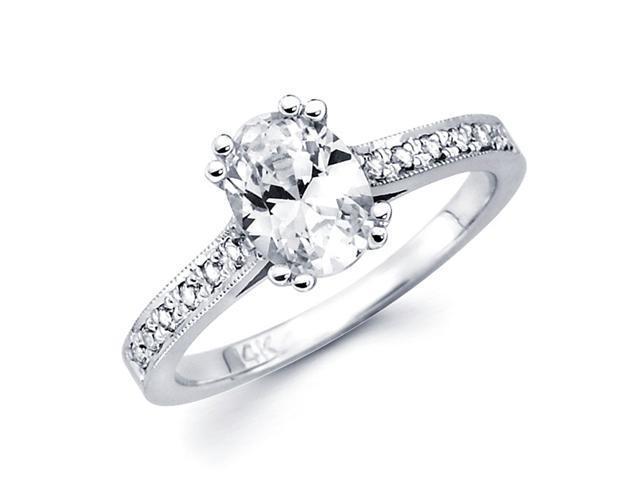 Semi Mount Oval Diamond Setting Engagement Ring 14k White Gold 0.15 CT