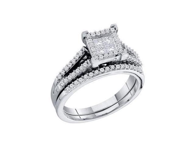 Princess Diamond Engagement Rings Set Bridal 14k White Gold (0.50 CTW)