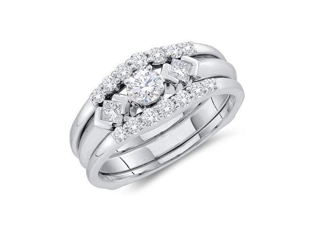 Diamond Engagement Rings Set 14k White Gold Wedding Bands (3/4 Carat)