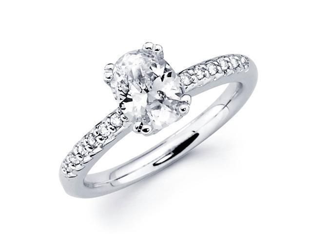 Semi Mount Oval Diamond Engagement Ring 14k White Gold Setting 0.15 CT