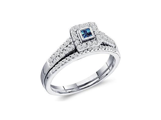 Blue Diamond Engagement Rings Set Band 14k White Gold (0.53 Carat)