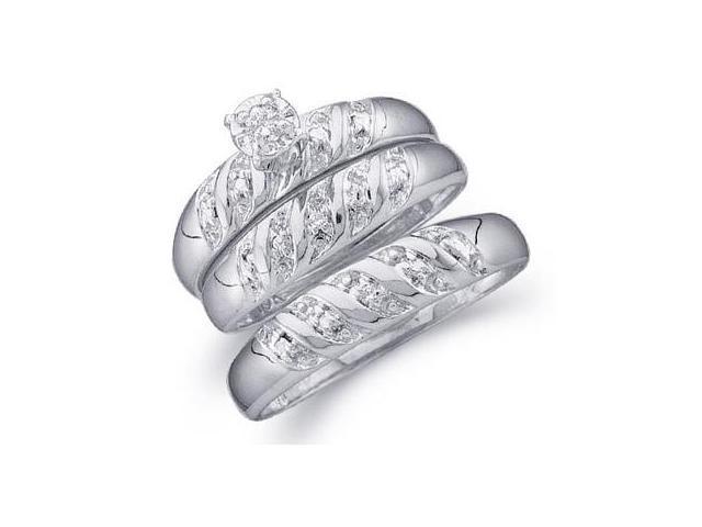 Diamond Engagement Ring & Wedding Bands 10k White Gold Men Women .07ct