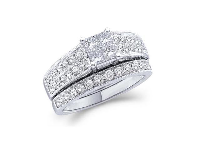Diamond Engagement Rings Bridal Set 14k White Gold Wedding Band 3/4 CT