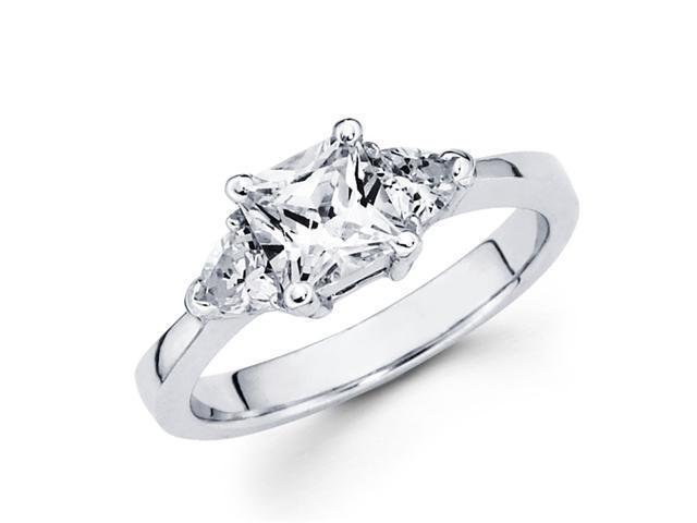 Semi Mount 3 Stone Princess Diamond Engagement Ring White Gold 1/3 CTW