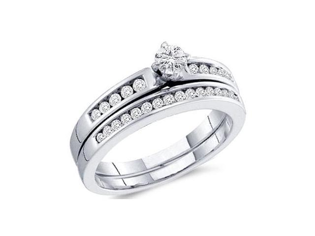 Diamond Engagement Rings Set Wedding Band 10k White Gold (0.48 Carat)