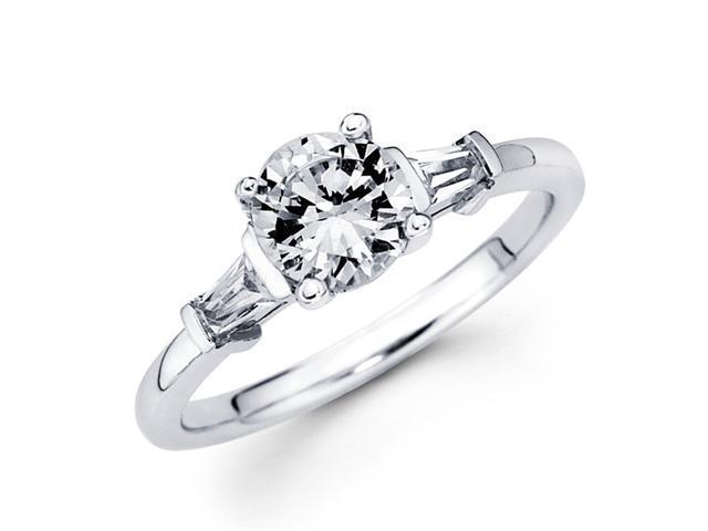 Semi Mount 3 Stone Round Diamond Engagement Ring 14k White Gold 1/4 CT