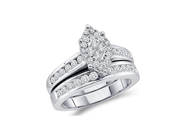 Diamond Engagement Ring and Wedding Band Set 14k White Gold (1.07 CTW)
