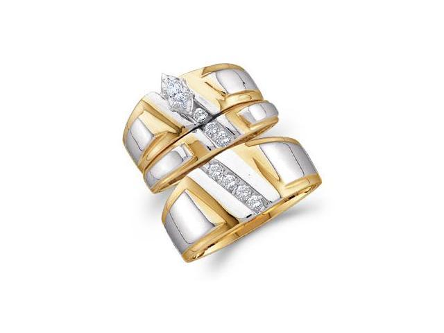 Diamond Engagement Ring Set & Wedding Bands 10k Gold Men Womens 1/4ct