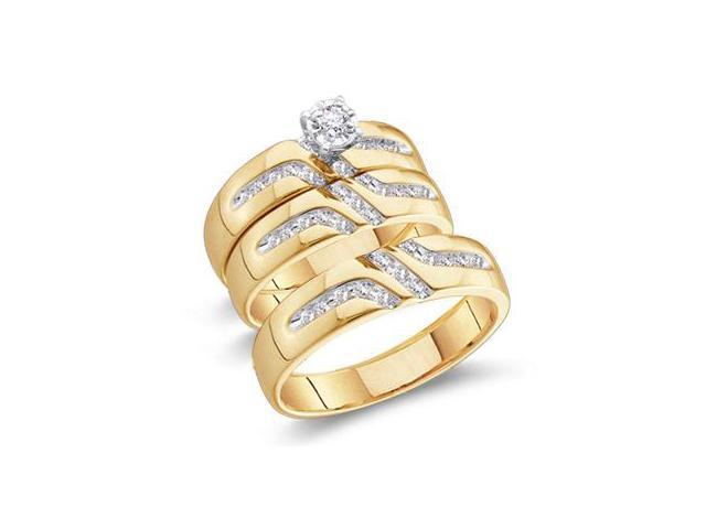 Diamond Engagement Ring & Wedding Bands Set 10k Yellow Gold (0.27 CT)