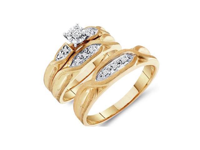 Diamond Engagement Rings Set Wedding Bands Yellow Gold Men Lady .12ct