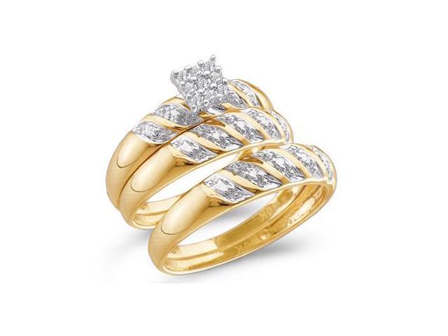 Diamond Engagement Ring & Wedding Bands Set 10k Yellow Gold (0.09 CT)