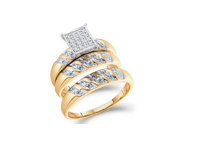 His & Hers Diamond Engagement Ring Wedding Set 10k Yellow Gold 0.08 CT