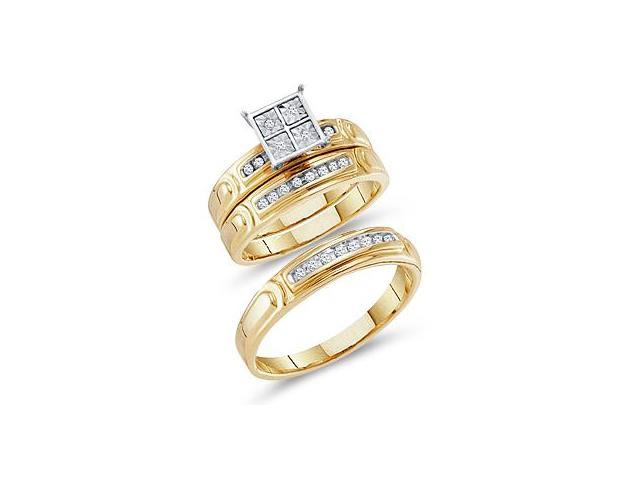 Diamond Engagement Rings Set Wedding Bands Yellow Gold Men Lady .20ct