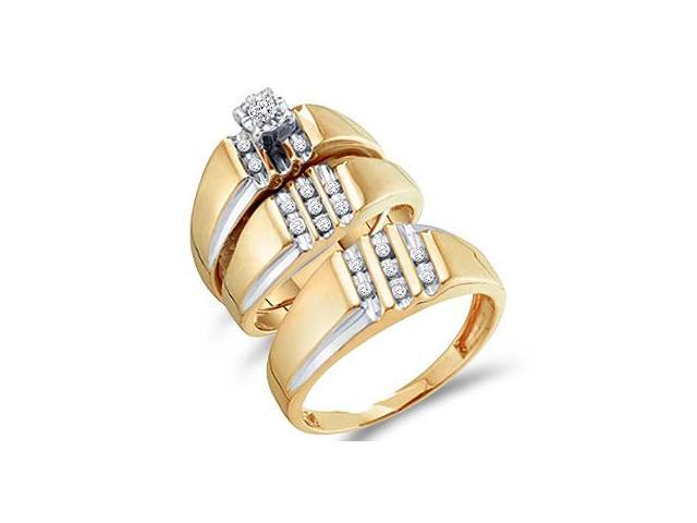 Diamond Rings Engagement Wedding Bands Yellow Gold Men Lady .25ct