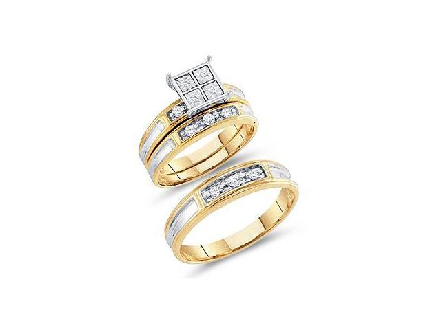 Diamond Rings Engagement Wedding Bands Yellow Gold Men + Lady .20ct