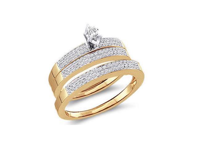 Diamond Engagement Ring & Wedding Bands Set 10k Yellow Gold (0.51 CT)