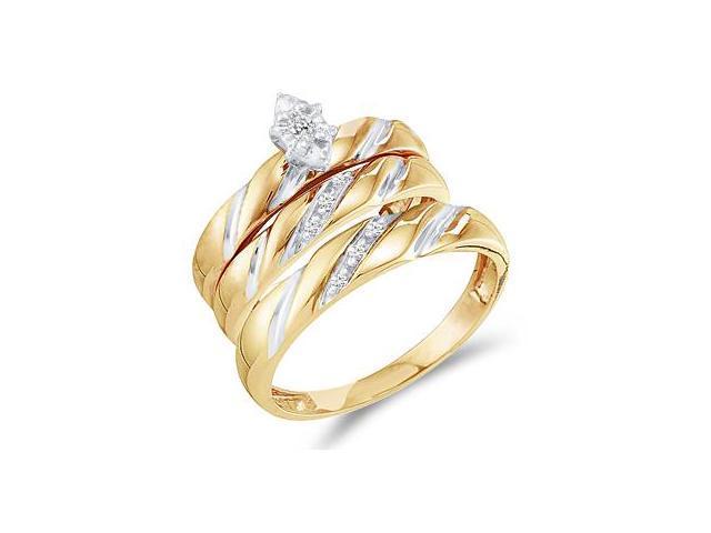 Diamond Engagement Rings Set Wedding Bands Yellow Gold Men Lady .09ct