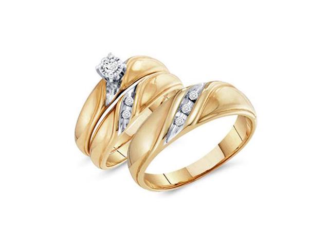 Diamond Engagement Rings Set Wedding Bands Yellow Gold Men Lady .15ct