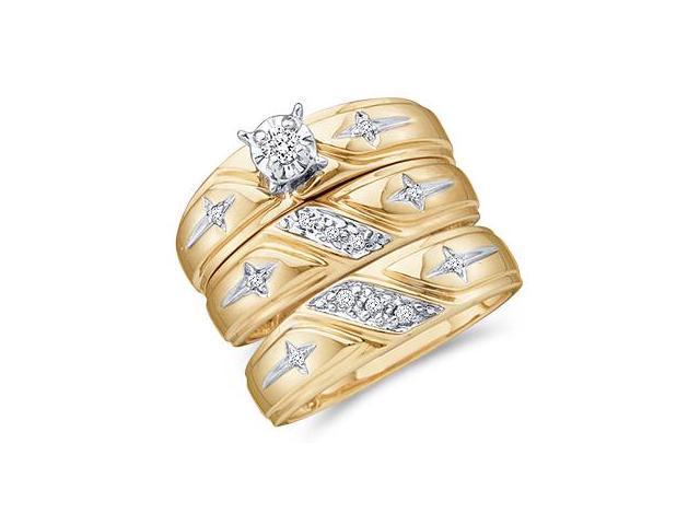 Diamond Rings Engagement Wedding Bands Yellow Gold Men + Ladies .15ct