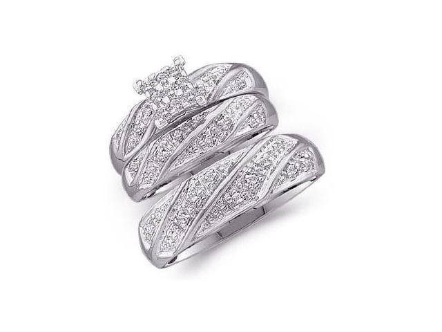 Diamond Engagement Ring & Wedding Bands 14k White Gold Bridal (.27 CT)