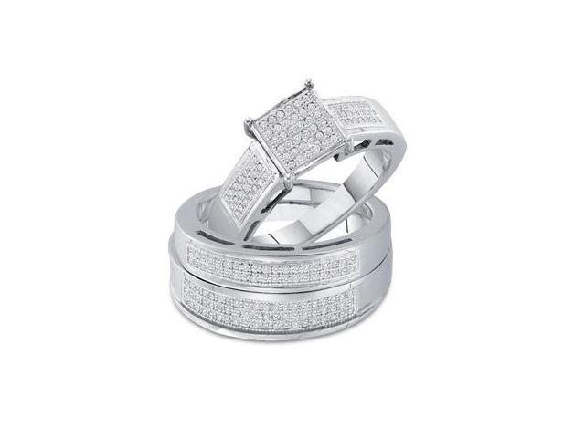 Men & Womens Diamond Engagement Ring Wedding Set 10k White Gold .60ct