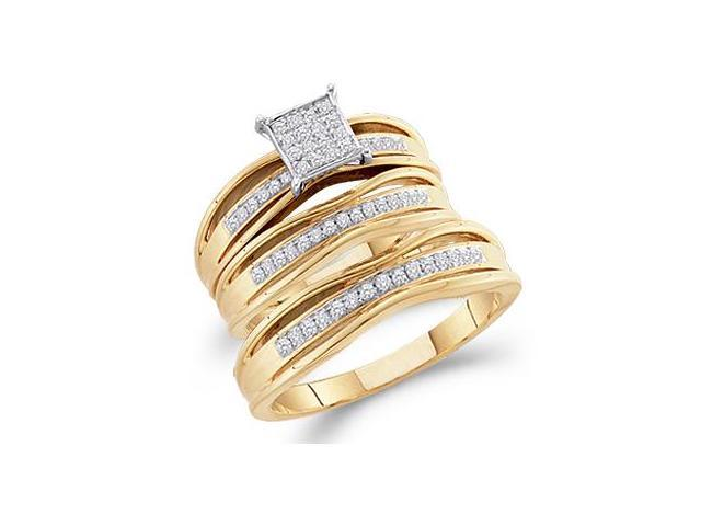 Diamond Engagement Ring & Wedding Bands Set 14k Yellow Gold (0.30 CT)
