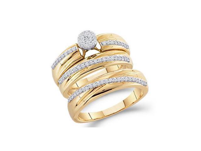 Diamond Engagement Rings Set & Wedding Bands 10k Yellow Gold (0.40 CT)