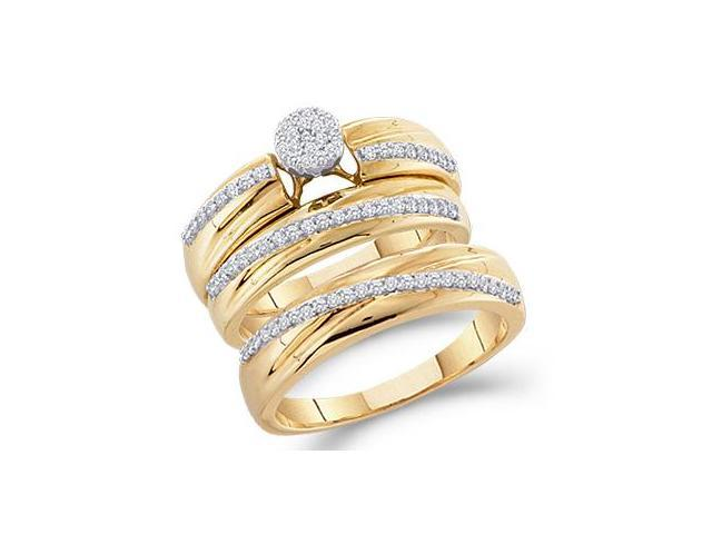 Diamond Engagement Rings Set & Wedding Bands 10k Yellow Gold (0.40 CT)