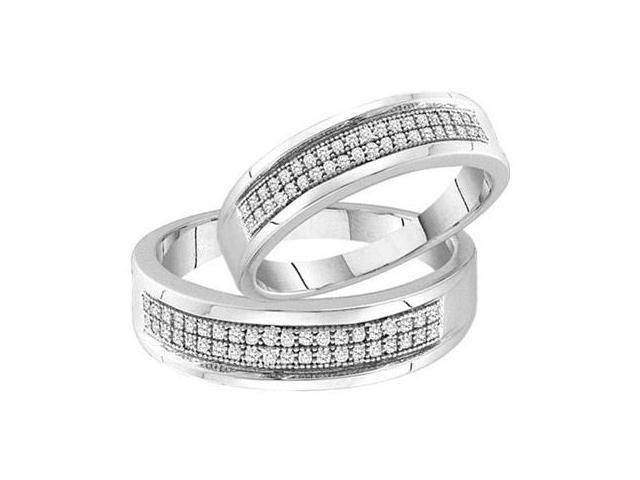 Men & Ladies Matching Diamond Wedding Rings Set White Gold Bands 1/4ct
