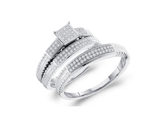 Diamond Engagement Rings & Wedding Bands Set 10k White Gold (0.25 CT)